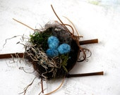 Rustic Wool Felt Eggs And Nest -  Wool Felt- Felted  Fall Decoration