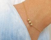 gold bracelet, gold bead bracelet, dainty bracelet, thin gold bracelet, minimalist bracelet, layering bracelet, beaded chain bracelet