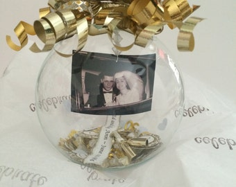 Personalized Wedding glass globe ball ornament, 25th or 50th Anniversary keepsake, Wedding globe ball decoration, centerpiece