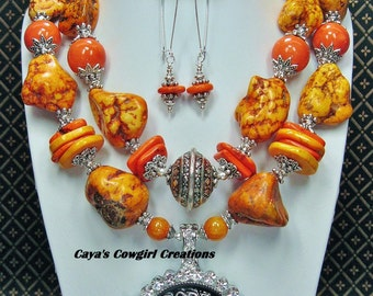 CHUNKY WESTERN COWGIRL Statement Orange Bold Rodeo Necklace - RoDeO LoNGhORn