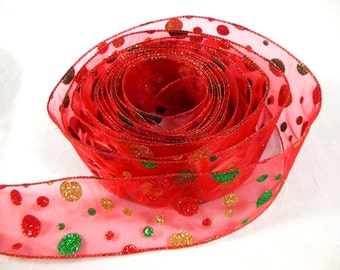 Christmas Ribbon  Red, Green & Gold Glitter Polka Dots on Sheer Red Wired Edge Wide Width