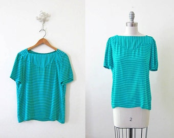 1980s Blouse | 80s Top | Silky Stripe Teal Top