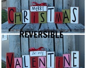 Christmas valentine wood block set reversible seasonal decor gift snowman collector heart valentines day personalized sign