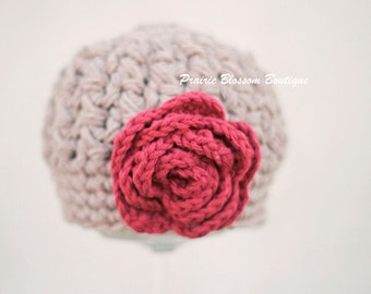 Crochet Baby Hats for Girls, Newborn Beanie with Flower, Crochet Infant Hat, Baby Girl, Jute, Red, Newborn Size