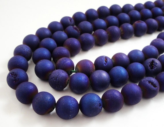 """Metallic Navy Blue Purple Druzy Agate Beads, Druzy With Coating Matte Round Ball Beads,   10mm , 7.5""""  Approx"""