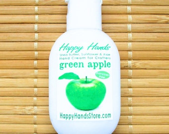 Green Apple Fresh Scented Hand Cream for Knitters - 1oz Refillable Tottle HAPPY HANDS Shea Butter Hand Cream