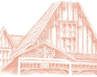Buffalo Historic Architecture- Gothic Revival Cottage Marker Drawing-Art Print