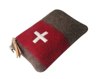 Swiss Army Toiletry bag- Wool bag-Utility pouch-Unique-red Stripe -Swiss cross.Industrial military-Great  gift for guys