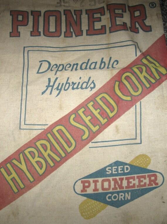 Vintage Pioneer Hybrid Seed Corn Grain Bag Sack by ...