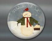 folk art magnet, primitive snowman fridge magnet, kitchen decor, holiday decoration, holiday magnet  MA-1383