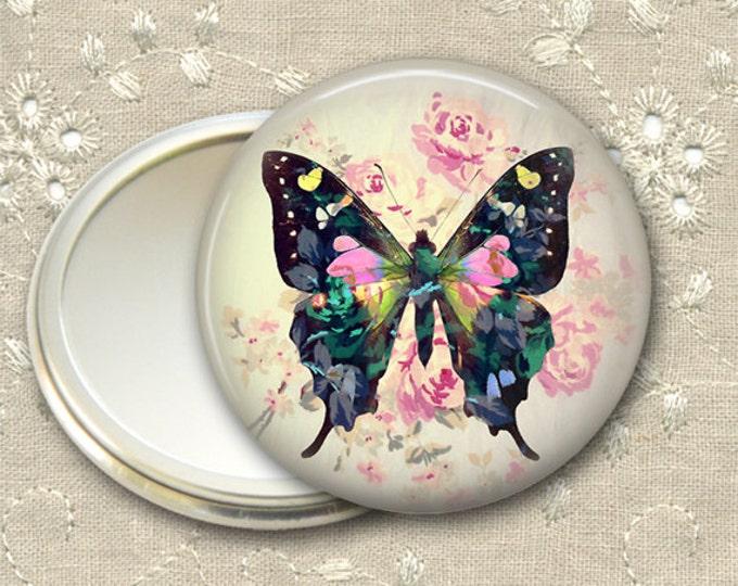 shabby butterfly pocket mirror,  boho chic mirror, mirror for purse, bridesmaid gift, stocking stuffer  MIR-364