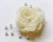 Flower Bridal Hair Comb Ivory Cream Chiffon Pearl Small Floral Fascinator Wedding Headpiece Handmade