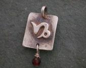 Sterling Silver Capricorn Zodiac Charm With Zodiac Birthstone, Astrology Jewelry, Zodiac Sign Nekclace