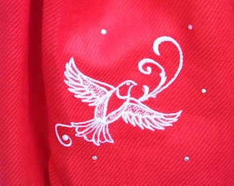 Scarf (Pashmina) - Embroidered Dove with Crystals