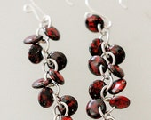 Opaque Red/Black Lentil Glass Beads Cluster Sterling Silver Earrings, Bridesmaid Gift Earrings