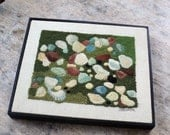 Seashells Crewel Work Finished Framed Picture Wall Decor Beach Decor