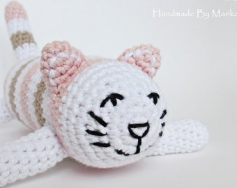 Amigurumi striped cat baby rattle stuffed toy - organic cotton - powder pink, beige and white