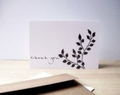 Botanical Thank You Cards - Charcoal Grey Garden Thank You Notes, Earthy Nature Leafy Thank You Card Set, White Grey Silhouette Note Cards