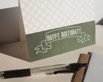 Chalkboard Style Birthday Card - Modern Greeting Card, Dark Green Chalkboard White Chalk Banner, Pale Sage Green White Polka Dot Invitations
