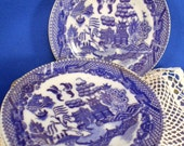 Blue Willow 6 Piece Dinner Plate Set Toy Dishes Japan