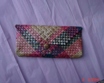 Hand Made Colorful Vintage Straw Clutch