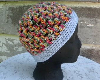 Womens Beanie, Multicolor With Blue Band, Open Weave Hat, Crocheted Hat