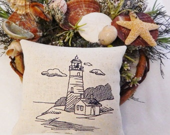 Lighthouse Pillow, Balsam Sachet Pillow, Lighthouse Nautical, Maine Balsam Fir, Made in Maine USA