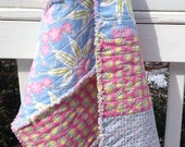 Handmade Baby Rag Quilt Stroller Car Seat Cover Changing Pad Pink Blue Floral Photo Prop ready to ship