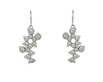 Adrenaline 3D Molecule Blackened Silver Earrings