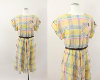 80s dress - pastel plaid chevron dress -  80s yellow boat neck dress - small