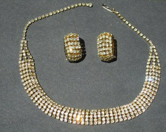 VINTAGE  Rhinestone Choker Necklace and Clip on Earring Set