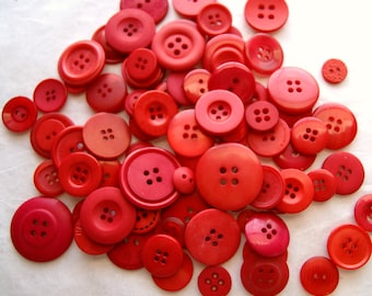75  RED ORANGE  Buttons Assorted sizes, Sewing, Grab Bag, Crafting, Jewelry (N-17)