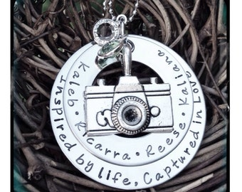 Personalized Hand Stamped Camera/photography necklace