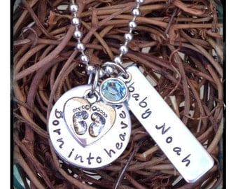Personalized Hand Stamped Miscarriage/born into heaven necklace