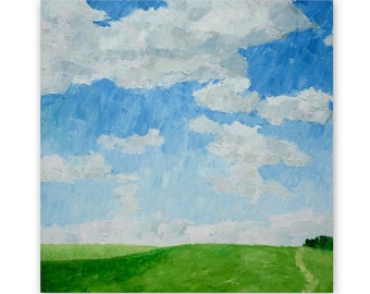 Sky, clouds, path, oil painting, 'Summer sky, Bempton Cliffs', original painting, landscape, 50x50 cm (19 3/4x19 3/4 inches)