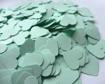 Mint Green Paper Heart Confetti, Wedding Confetti Mint shower confetti Party Events Mint table Decorations