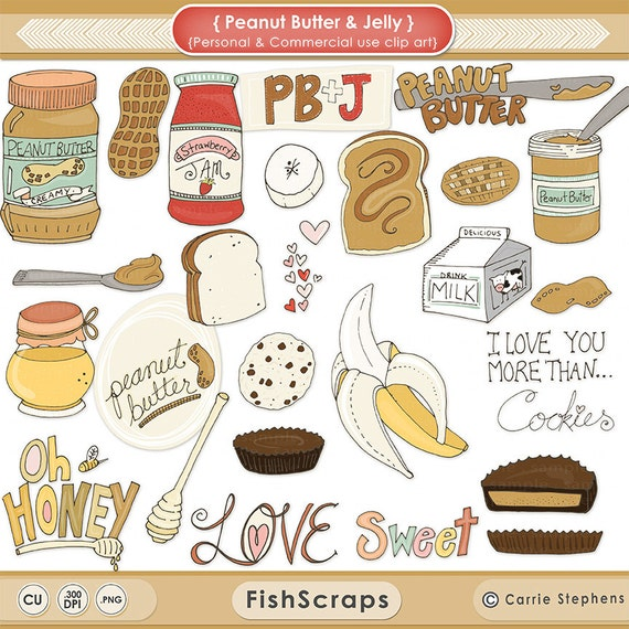 Peanut Butter & Jelly - PB and Chocolate - Milk - Honey - Food ClipArt ...
