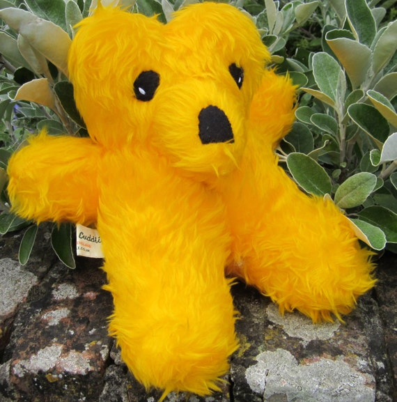 Sleepy Teddy Art Doll Yellow Plush Furry Bear Collectable Golden Plush Cuddly Safe Pram or Cot Toy