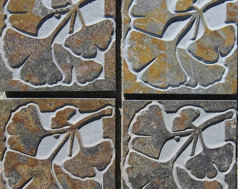 Small  Mission Style Ginkgo Leaves - Etched Slate Tiles - SRA
