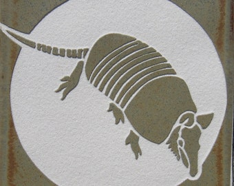 4x4 Armadillo - Etched Accent Tile or Coaster - SRA