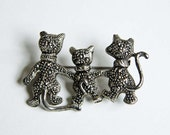 Vintage Silver Brooch - Three Cats Strolling - Cat - Pin - Jewelry