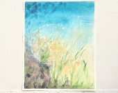 dandelion abstract watercolor painting, blue and green purple, yellow, dreamy and calm original painting, wishes