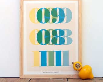Personalized Baby's Birth Date and Stats - Custom Nursery Decor Art Poster (Yellow, Green, Blue)