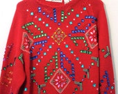 Red Bedazzle Galore 80s Super Jeweled Sweater