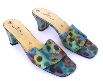 SALE 90s Psychedelic Butterfly Floral Hologram Heels
