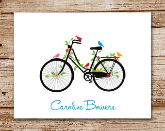 Set of 8 Bicycle Note Cards, Noteca rds | Personalized Stationery ...
