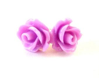 Orchid Rose Stud Earrings- Surgical Steel or Titanium Earrings- Rose Post Earrings- 10mm