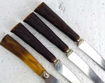 Vintage Glamping Bakelite Carving Steak Knife and Three Faux Stag Horn Handles Steak Knives USA