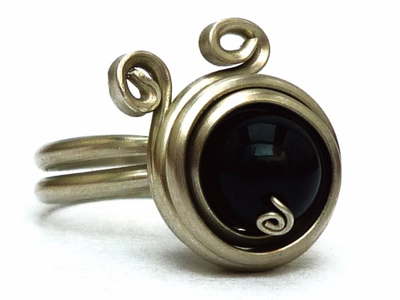 Spiral Black Ring Wire Wrap Ring Black Stone Ring Onyx Ring