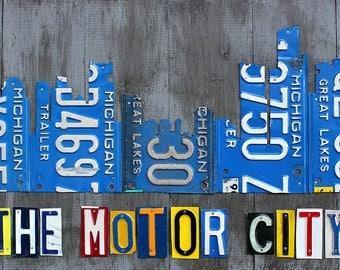 Detroit City Skyline License Plate Art 33 x 18
